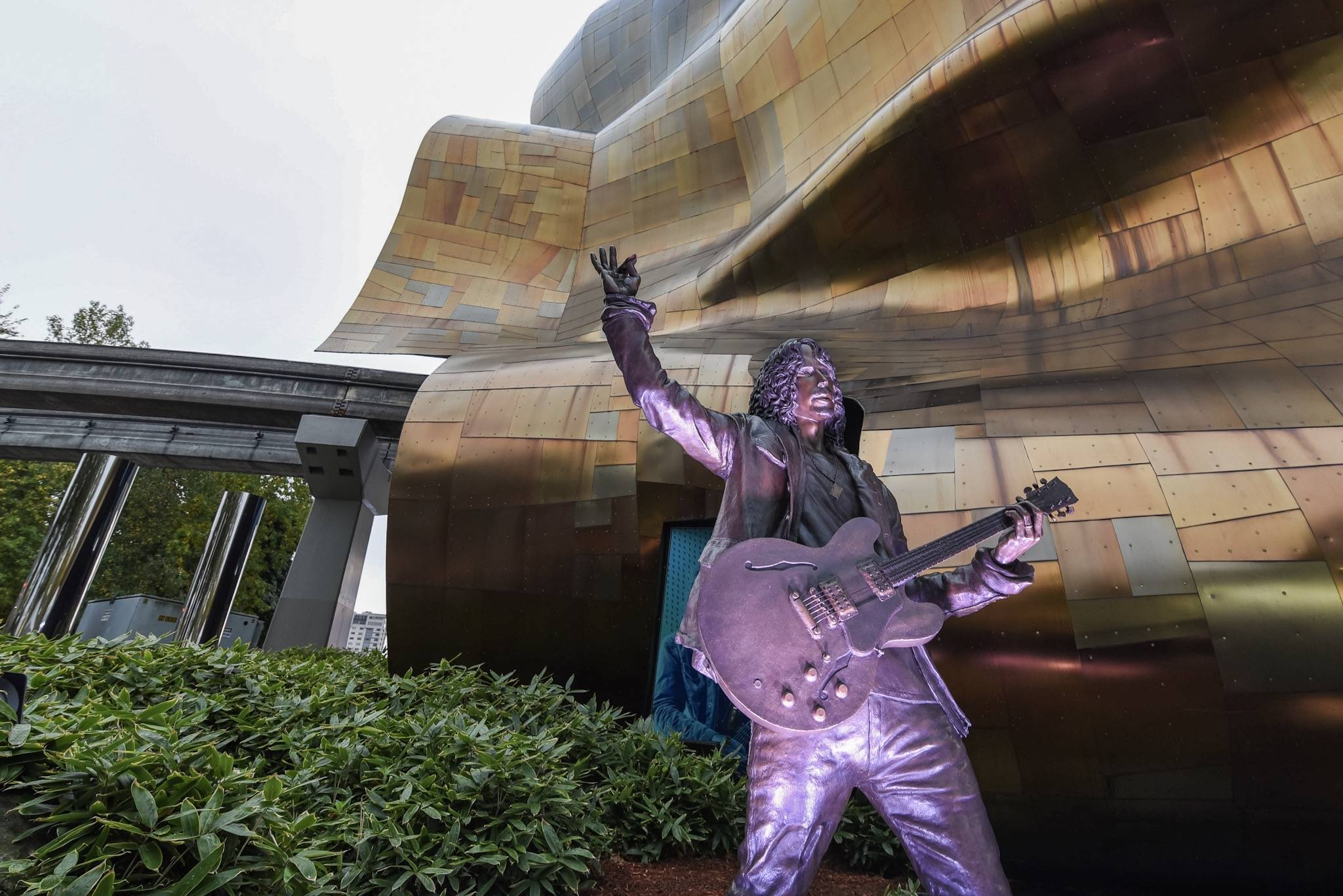The new Chris Cornell statue resides outside of MoPop. Photo courtesy MoPop