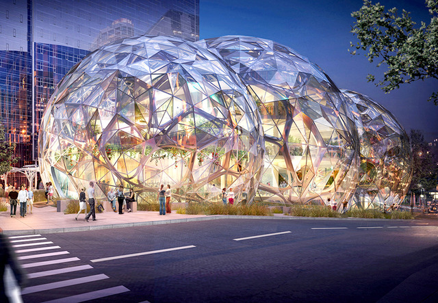 Rendering of the completed Amazon Spheres. Photo Courtesy NBBJ