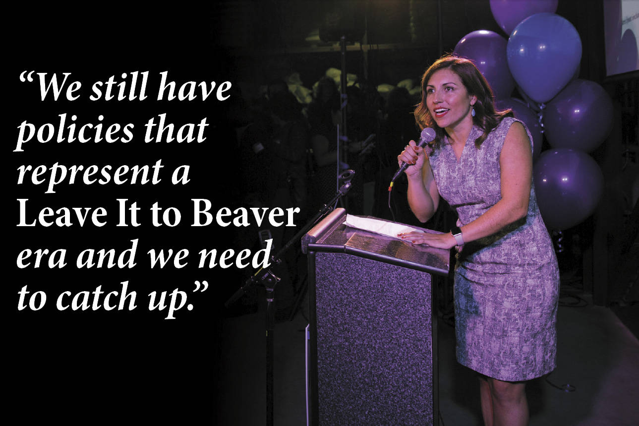 Teresa Mosqueda speaks to her supporters on election night. Photo by Naomi Ishisaka
