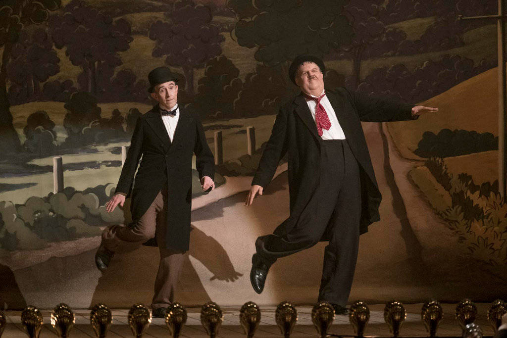 Steve Coogan and John C. Reilly take the stage as Laurel and Hardy.  Photo by Nick Wall/Sony Pictures Classics